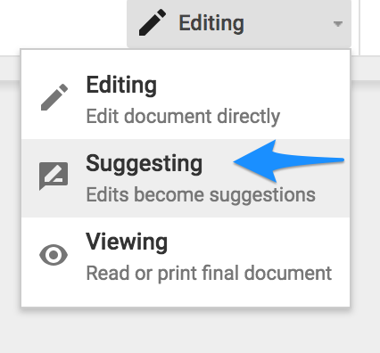 suggesting mode google docs