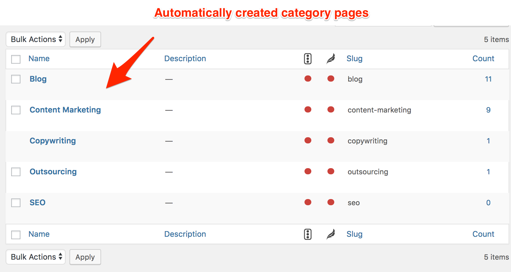 category page examples