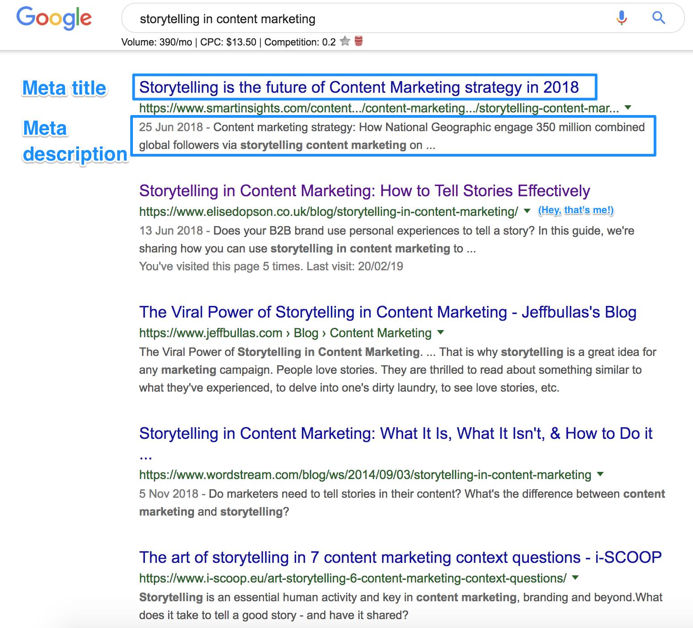 competitor research - seo meta tags