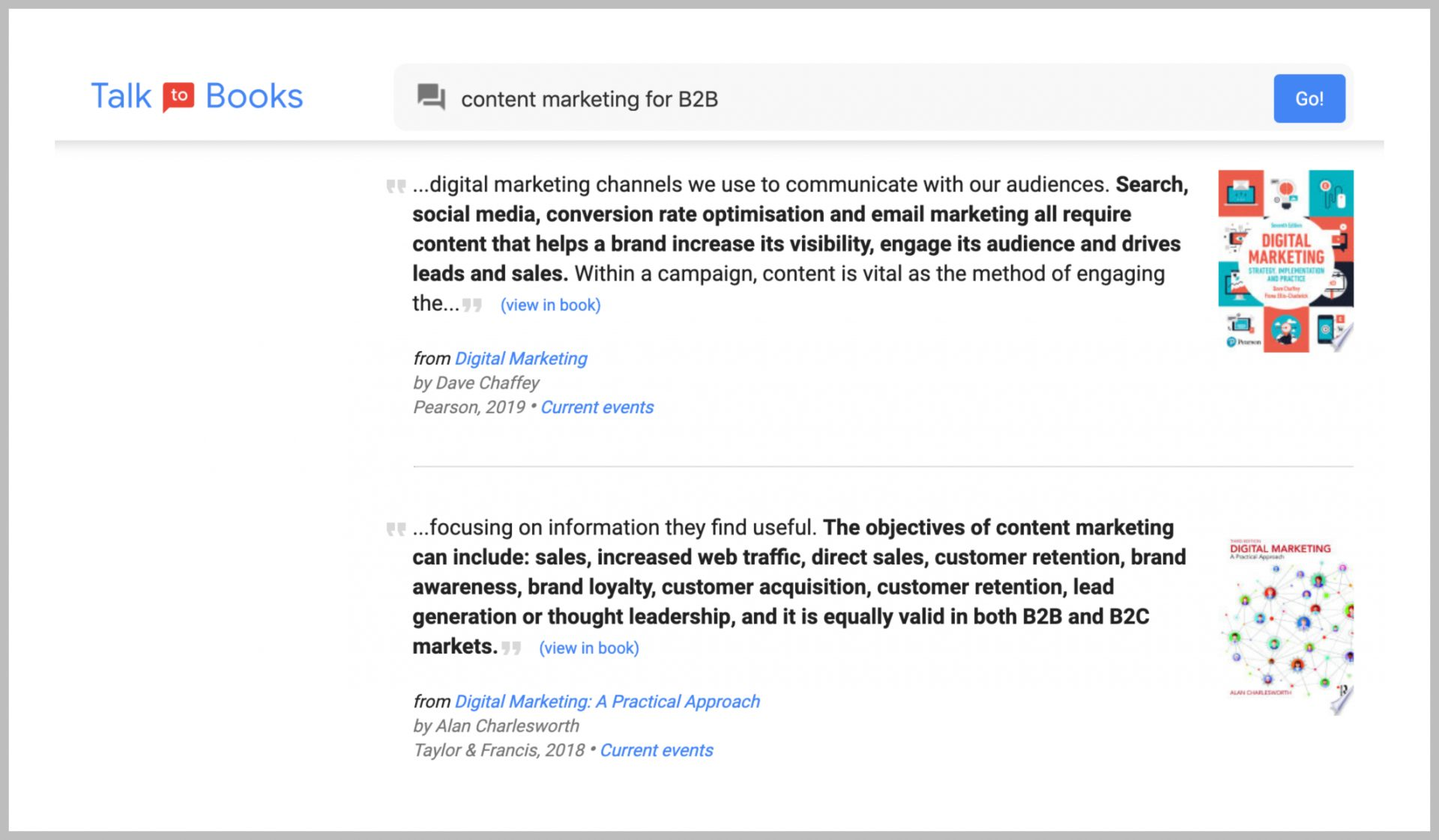 google talk to books - content research